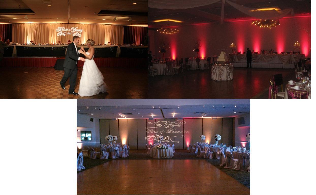 wedding gobo and uplighting beautiful color table uplighting